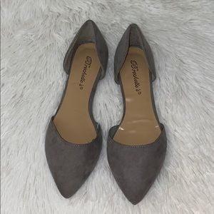Breckelle's Faux Leather D'Orsay Pointed Toe Flats
